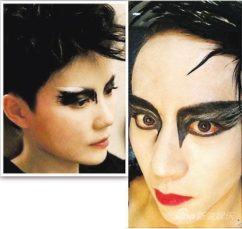 邓超(右图)化了一个浮夸妆,自称十分像王菲(左图),大家觉得像不像呢?