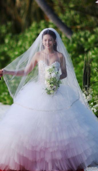 张雨绮幸福晒婚纱照