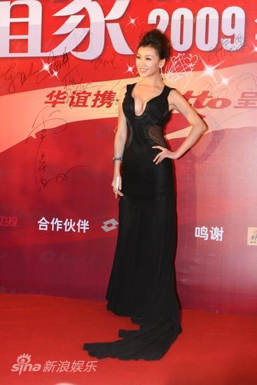 图文:华谊明星汇红毯--巩新亮长裙优雅