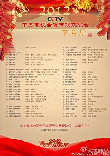 2012年央视龙年春晚正版节目单