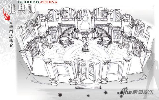 舞厅内部手绘场景图