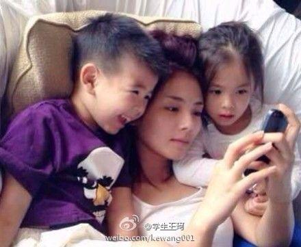 刘涛与一对儿女