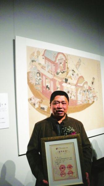 把黄�的《沧海笑》画出来四川画家吴浩夺全国金奖