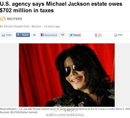 迈克尔杰克逊被追缴遗产税