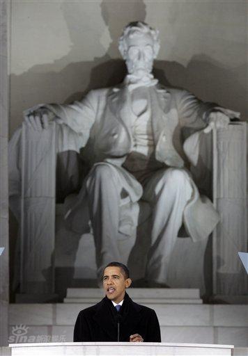 奥巴马就职音乐会 林肯光辉照耀奥巴马