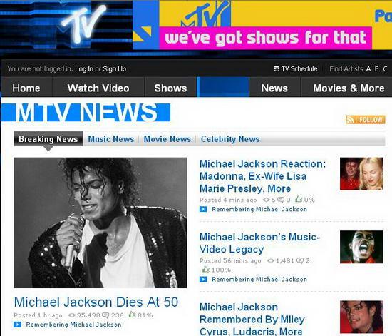 图文:各大媒体报道杰克逊逝世--MTV