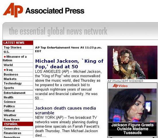 图文:各大媒体报道杰克逊逝世--美联社
