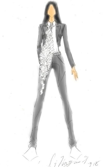 图文:快女巡演服装设计图--潘辰也欲转型中性风?