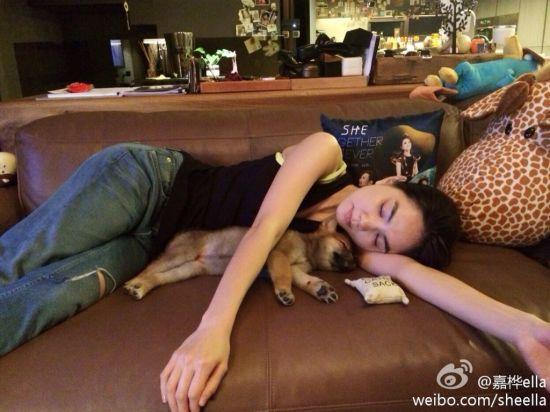 Ella与爱犬合影