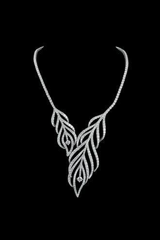 通灵珠宝高端定制STARLET(红毯)系列羽毛造型项链