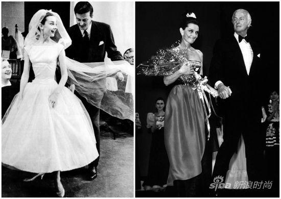 左:1965年的赫本和纪梵希;右:1983年,赫本参加纪梵希在东京的时装发布会