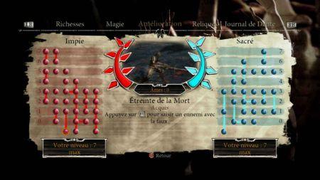 《但丁的地狱》中两条不同的成长方向,彼此平行,主要决定于玩家使用哪种方式处决敌人