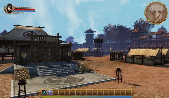 工程版画面:《古剑奇谭OL》中军营的实景技术展示图。
