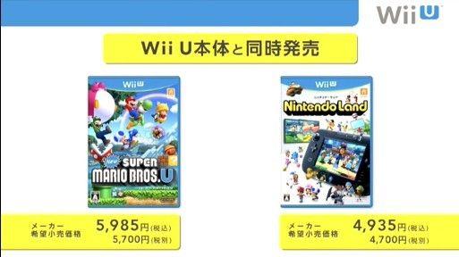 《超级马里奥兄弟U》以及《任天堂乐园》将会与主机进行同时发售