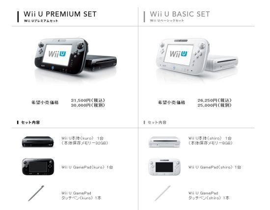 任天堂官网提供的双版本Wii U主机套装信息