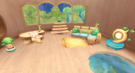 整套的原木主题家具,布置起来非常可爱吧!