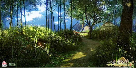 树影斑驳的百草谷小径