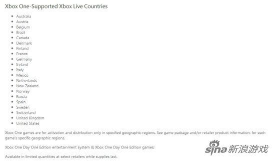 微软Xbox One支持地区列表,请注意下方第一段文字