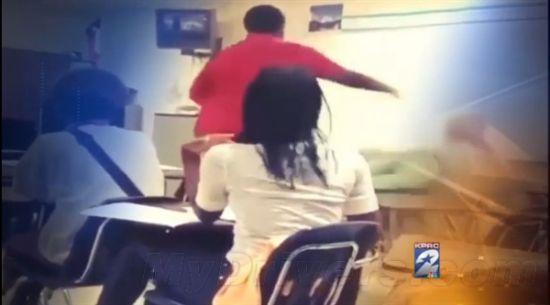 女教师与男学生教师�9��H:)�h�yg*9�yȰ_手机被没收 美16岁学生怒将66岁女教师推倒