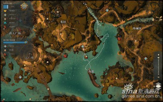激战2狮子拱门东区暗礁景观点位置