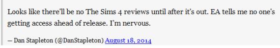 大概意思是:《模拟人生4》出了之后才会有评测,EA说发售之前谁都别玩