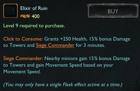 废墟合剂:提供生命值,+%防御塔伤害。附近的小兵获得+%防御塔伤害,并且移动速度提高至你的移动速度的90%,最多500。