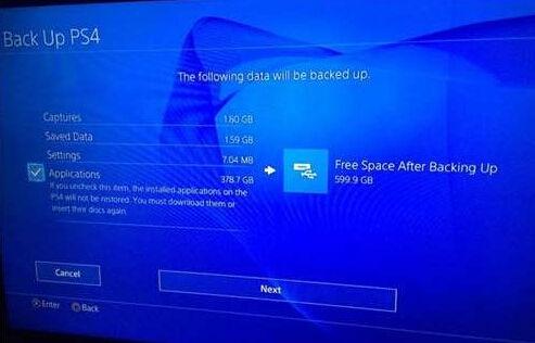 PS4数据备份选项