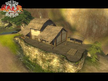 古代村庄卡通背景