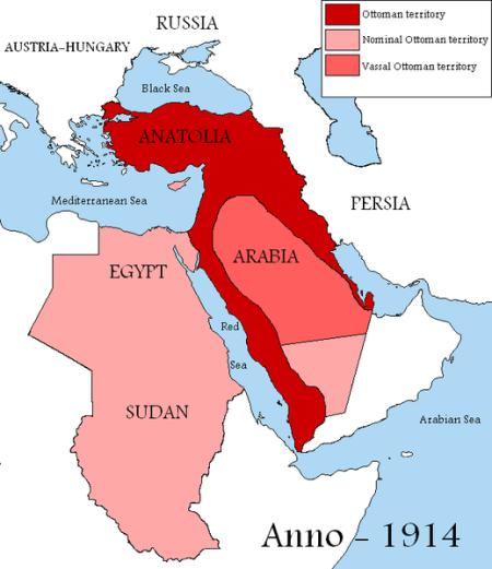 图一:1914年的奥斯曼帝国。鲜红色为奥斯曼帝国实际控制区域,粉红色为奥斯曼帝国名义上拥有主权的地区(英国控制下的埃及和塞浦路斯,名义上由英国和埃及共管的苏丹),阿拉伯半岛内部的内志地区,则是奥斯曼的藩属。