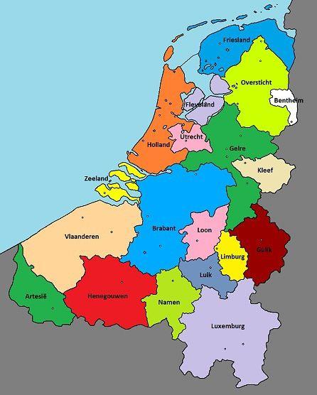 低地国家:北部为现在的荷兰,西南部为比利时,东南一隅为卢森堡