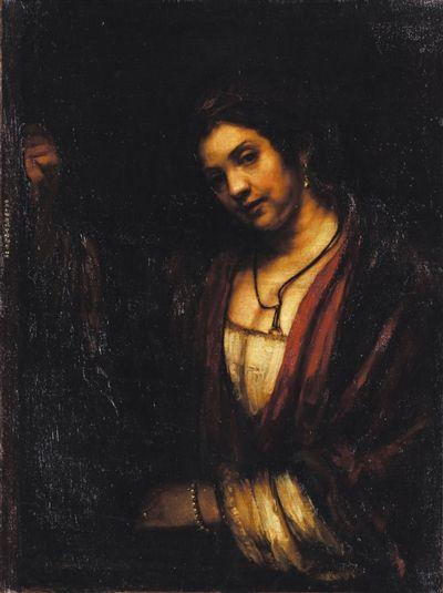 徐悲鸿临摹伦勃朗《妇人倚窗像》。