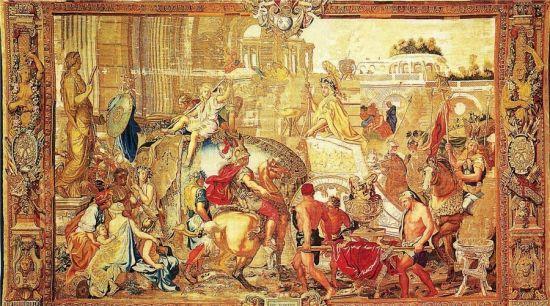《亚历山大凯旋》,高布兰壁毯,法国查理·勒·布朗作草图。表现的是古马其顿国王亚历山大大帝打了胜仗后凯旋而归的场景。图/FOTOE
