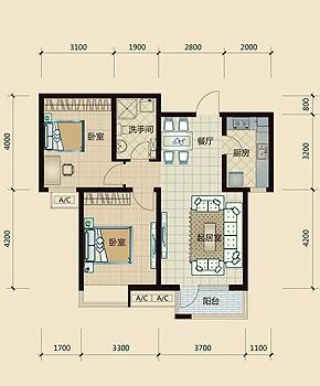 二室一厅房子设计图