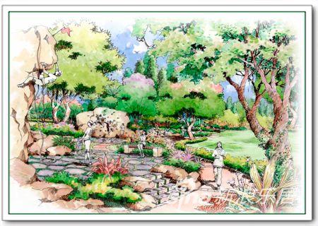 滨才城景观园林手绘效果图