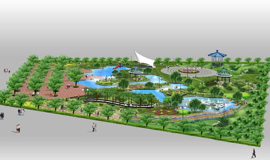 校园人工湖景观设计手绘平面图
