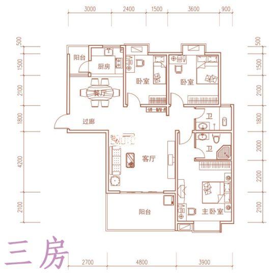 两房和三房户型图展示 77 129平米