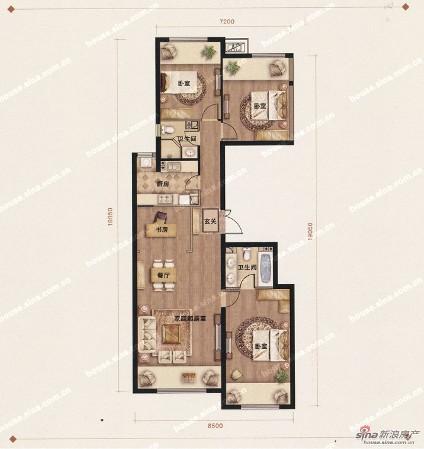 四室一厅二卫一厨设计图展示