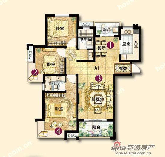 图为保利图案国际a1五彩三室两厅两卫一厨132平米香槟图绘制户型户型图片