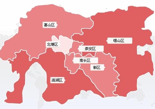 无锡区域分布图