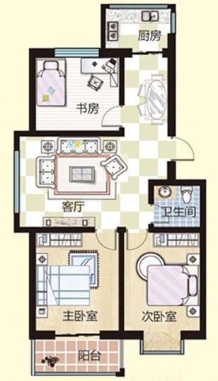 三室一厅一卫;; 易居时代 户型图 三室一厅一卫(1/4张)