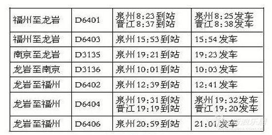 时刻表   往南京每日一趟21起预售票
