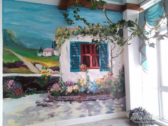 玄关小客厅的涂鸦墙