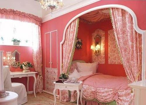欧式粉色窗帘效果图