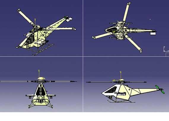 垂直风雷复合式尾桨无人隐形直升机