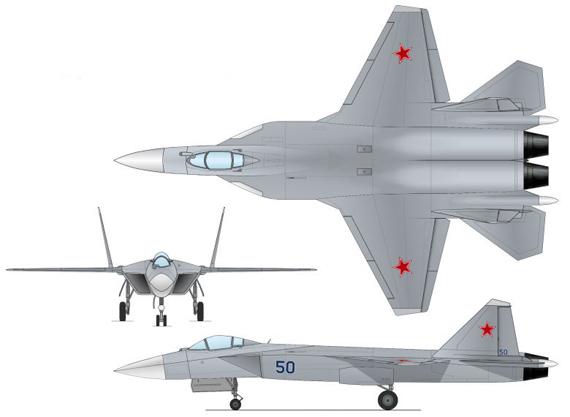 资料图:俄罗斯未来第五代隐身战机三视图
