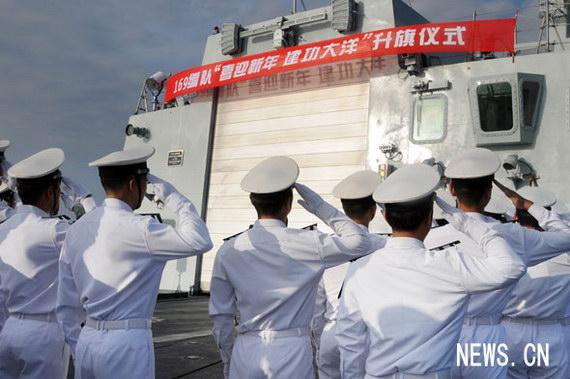 2009年的第一天,中国海军赴亚丁湾、索马里护航编队开展多项活动,迎接新年的到来。