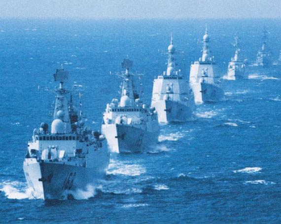 中国海军南海舰队新型驱逐舰编队。