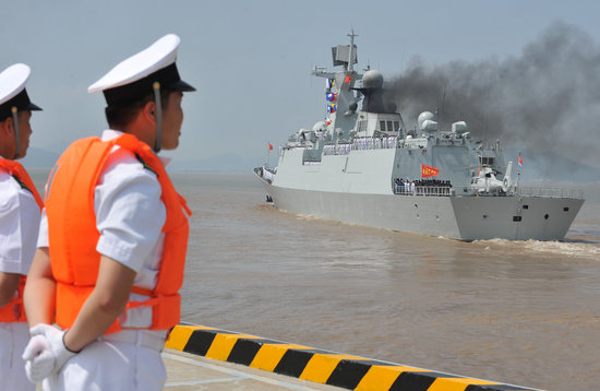 2009 July 16 Day, Zhoushan, Zhejiang, China naval escort fleet starting third. Photo: flying towards/CFP