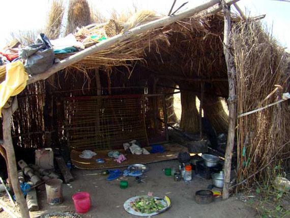 张勇第一次赴苏丹维和时当地一家人住的茅草屋。