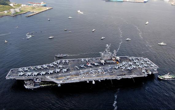 资料图:抵达日本基地的美国海军华盛顿号航母